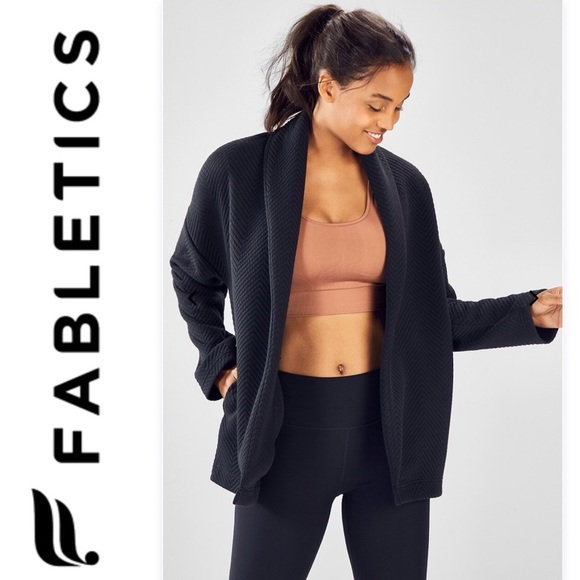 Women/'s Fabletics Vanessa Quilted Cardigan Black Polyester Spandex